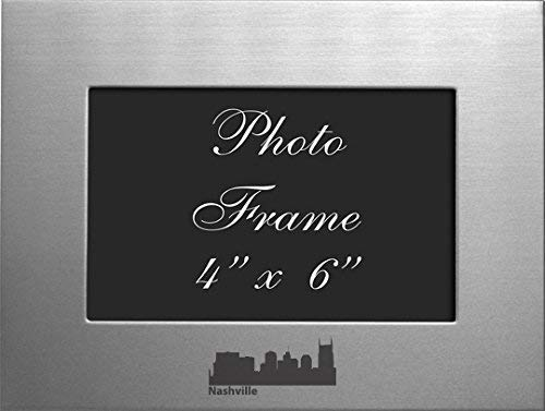 Nashville Tennessee-4x6 Brushed Metal Picture Frame-Silver