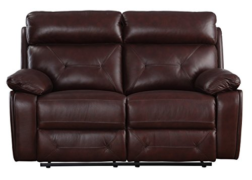 Homelegance Resonance Reclining Loveseat, (Brown Leather Motion Home Theater)