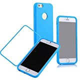 Iphone6 Plus Case , Front Anti-scratch Clearly Smooth Flip scratch Resistant Screen Protector Protection Case for Iphone 6 Plus 5.5 Inch(Blue)