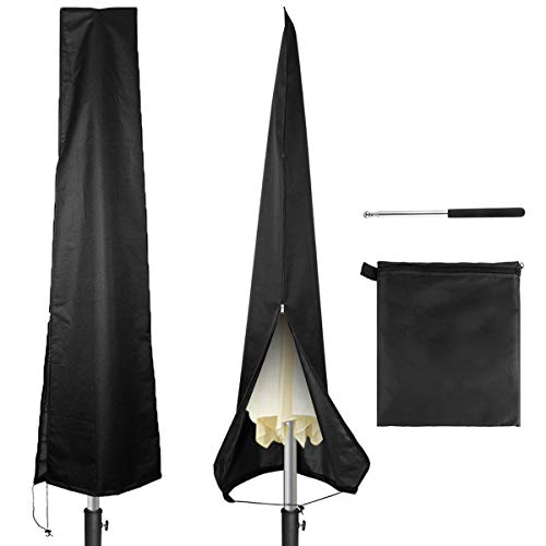 Owlike Umbrella Covers Waterproof Parasol Patio Umbrella Covers with Zipper and Telescopic Rod for 7ft to 11 ft Outdoor Umbrellas,Black 420D Oxford Fabric ()