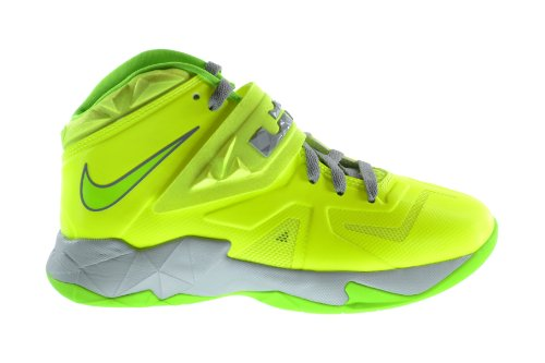 Nike Soldier 7 (GS) Big Kids Basketball Shoes Volt/Electric Green/Grey 599818-701 (7 M US)