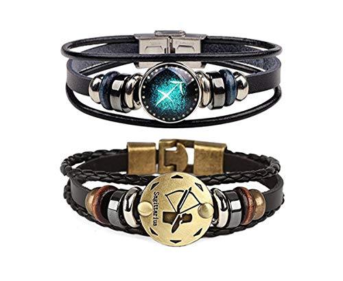 (Dcfywl731 Retro 2pcs 12 Zodiac Constellation Beaded Hand Woven Leather Bracelet Braided Punk Chain Cuff (Sagittarius))