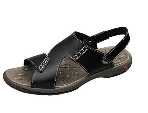 Insun Sandalias Para Hombre Cuero Casuales Sandalias Playa Zapatos Negro