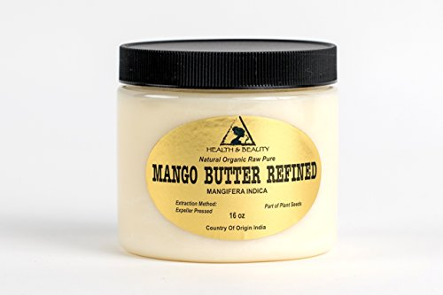 Mango Butter Organic Ultra Refined by H&B OILS CENTER Expeller Pressed Premium Quality Natural Fresh 100% Pure 16 oz, 1 LB