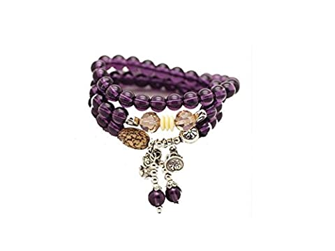 Natural Buddhist Amethyst Beads, 8mm Healing Stones Bracelet Chakra Jewelry Beads Necklace, Good Luck Prayer Mala Necklace Unique Gift, Unisex Thanksgiving (Amethyst Stone Jewelry)