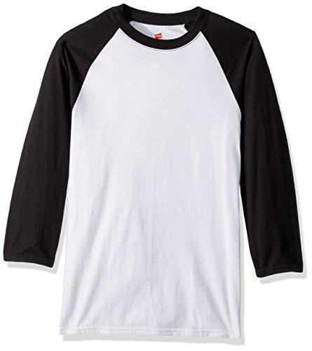 Hanes Men's X-Temp Raglan Baseball Tee, White/Black, X-Large