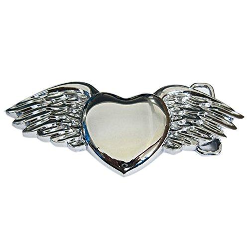 New Bright Silver Angel Wings Love Heart Belt Buckle Gurtelschnalle