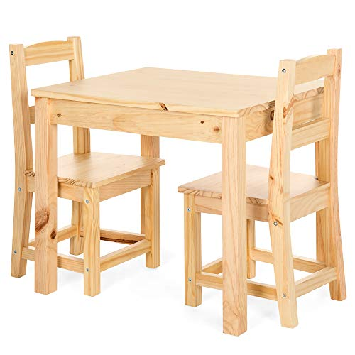 Best Choice Products 3-Piece Kids Toddlers Multipurpose Wooden Activity Table Furniture Set for Nursery, Bedroom, Play Room, Living Room, Classroom w/ 2 Chairs - Natural