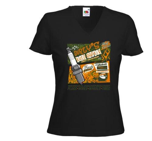 Damen T-Shirt Hot Rod Dirty Auto Repair Rockabilly Tattoo Custom Gr.XL