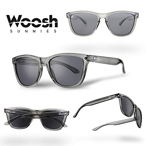 - WOOSH Polarized Lightweight Sunglasses for Men and Women - Black Lens & Clear Grey Frame - Unisex Sunnies for Fishing, Beach and Outdoors