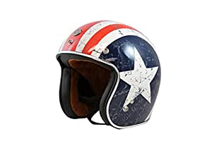 TORC T50 Route 66 3/4 Helmet with 'Rebel Star' Graphic (White, Large)