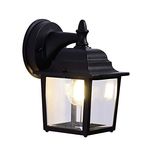 Simple Modern Outdoor Wall Light, Black,Cast Aluminum, Anti-Rust, Transparent Glass lamp,Outdoor Wall Lantern,Exterior Light Fixtures,Suitable for Courtyards, Villas, Parks, - Courtyard Mount Outdoor Wall