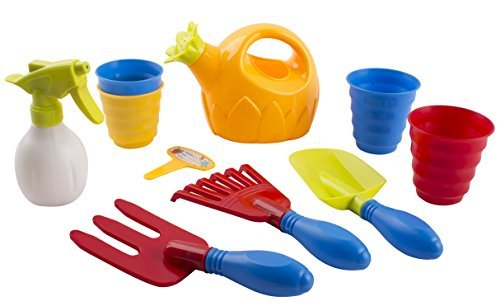 Toy Gardening Tools (Educational Kids Toy Garden Toys Kit With Gardening Tools Includes 1 Hand Rake, 1 Hand Trowel, 1 Hand Fork 2 Flower Pots, 1 Rake, Watering Spray Bottle, Flower Watering Pot, Children's Gardening)