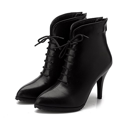 AmoonyFashion Womens Solid PU High-Heels Zipper Pointed Closed Toe Boots Black 5Inlq