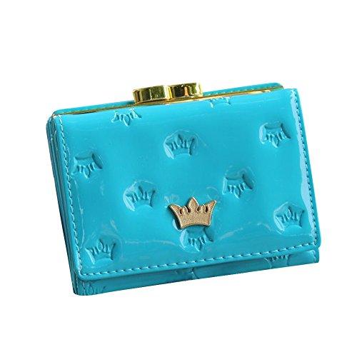 Surker Women's Candy Color Embossed Crown Pattern Metal Buckles Short Wallet Multi-function Billfold Blue