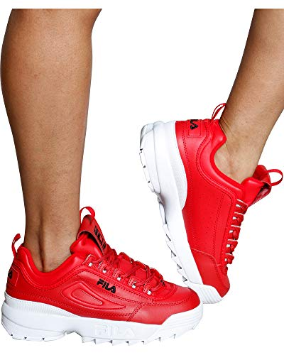 (Fila Women's Disruptor II Premium Sneakers, Fila Red/Black/White, 10 M US)