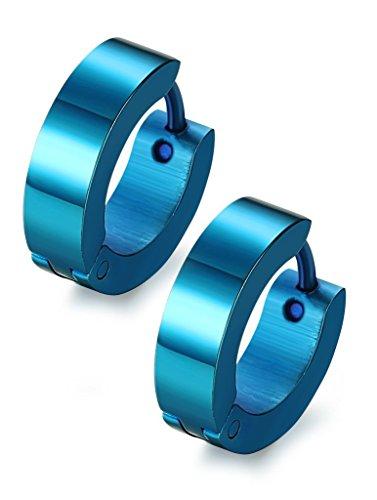 (Jstyle Stainless Steel Unique Small Hoop Earrings for Men Huggie Earrings Blue)