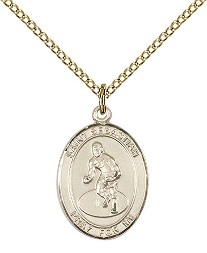 14kt Gold Filled St. Sebastian / Wrestling Pendant with 18'' Gold Filled Lite Curb Chain. Patron Saint of Athletes/Soldiers by F A Dumont