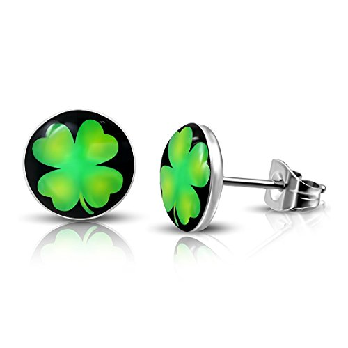 Shamrock Circle - Stainless Steel 3 Color Love Heart Shamrock Flower Circle Stud Earrings (pair)