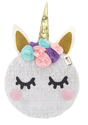 APINATA4U Small Unicorn Pinata with Flowers Pink Teal Lavender