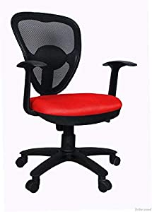 Tribe wood Visitor/Office Chair Red and Black 18 x 17 x 37 Inch