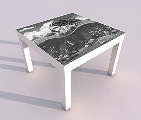 Diseño - Mesa con UV Impresión 55x55cm Negro Blanco Dormitorio ...
