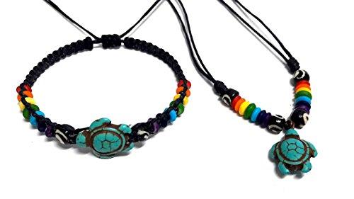 Necklace-and-Bracelet-Turtle-in-Turquoise-Color-Hawaiian-Sea-Turtle-Bracelet-Rainbow-Hemp-Bracelet