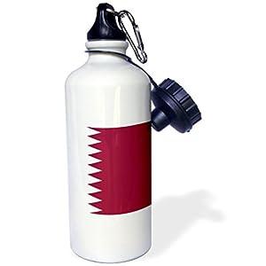 "3dRose wb_158415_1 ""Flag of Qatar-Qatari Maroon dark red and white zigzag zig zag Arab Arabic Arabian world country"" Sports Water Bottle, 21 oz, White"