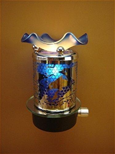 L&V Electric Metal Plug In Night Light Wax Burner Oil Warmer Blue Dolphins Design Dolphins Glass Night Light