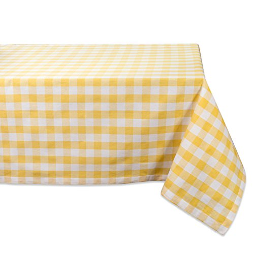 tton Tablecloth, Yellow & White Check - Perfect for Spring, Summer, Farmhouse Décor, Picnics & Potlucks or Everyday Use ()