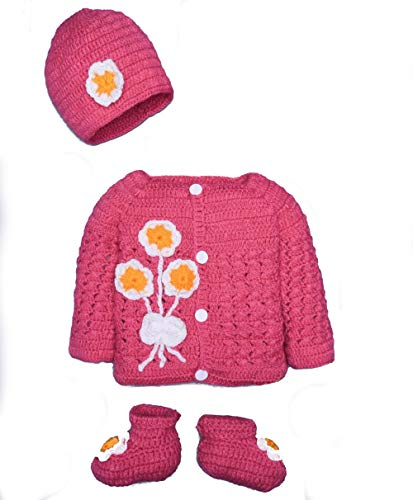 Hand Made 3 Piece Knitted Warm Cozy Baby Crochet Set- Newborn Toddler Wool Sweater Set Includes- Booties & Hat (0-6 Month, Fucia Pink Flower)