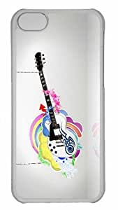 Customized iphone 5C PC Transparent Case - White Guitar Personalized Cover by heywan
