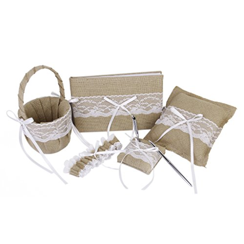 5pcs Rustic Burlap And Lace Ring Pillow Wedding Guest Book Pen Garter Set ()