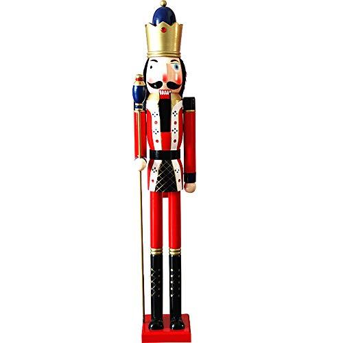 JG.Eshadoll 4 Feet Traditional King Nutcracker Collectible Wooden Christmas Nutcracker Festive Holiday Decor Embellished Uniform& Gold Scepter (WD00120-8 Multi, 4 FT)