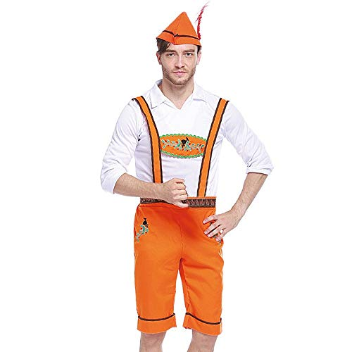 3PC Men Costume Set Strap Shorts Hat Top