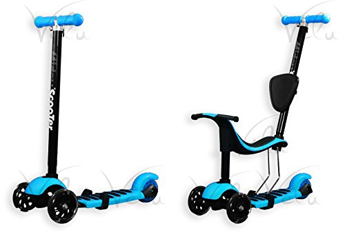 Innova® 3 Swiss Miduo Toddler Kick 4 in 1 Kids Childrens Scooter Flashing Wheel Adjustable Size Age 2-10 (BLUE)