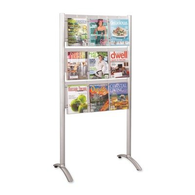 Safco Products 4135SL Luxe Magazine Floor Rack, 9 Pocket, Silver - 9 Pocket Magazine Display