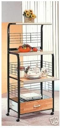 Black Finish Kitchen Microwave Cart w/ Electric Socket