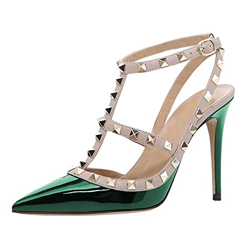 Lutalica Women Sexy Ankle Straps Sandals High Heel Pointed Toe Studded Stiletto Patent Green Shoes Size 10 US