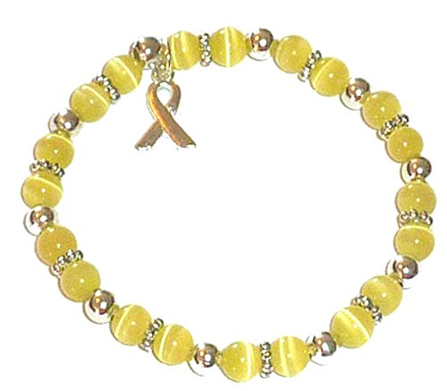 Hidden Hollow Beads Cancer Awareness 6mm Beaded Stretch Bracelet, Adult size, Comes Packaged (Bladder Cancer \ Sarcoma - Yellow)