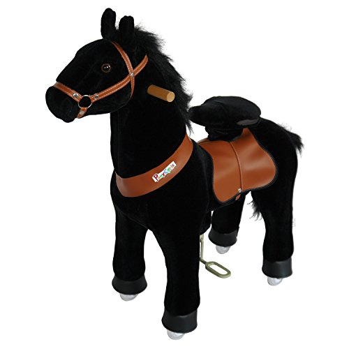 PonyCycle Official Riding Pony No Battery No Electricity Mechanical Horse Toy Black Giddy up Pony Plush Walking Animal for Age 4-9 Years Medium Size - N4183