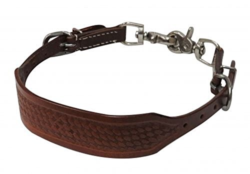 Pony Size Leather Basket Weave Tooled Wither Strap Comes with 2 Scissor Snaps