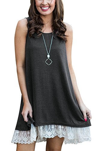 (Women's Lace Tunic Top Sleeveless Blouse Sweatshirt A-Line Flowy Summer T-Shirt Dress Grey S )
