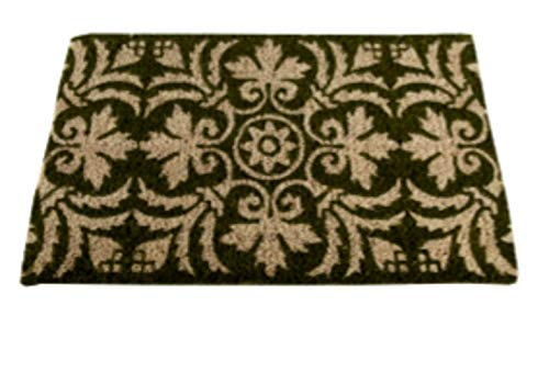 Tag Fleur Coir Welcome Doormat PVC Backed Mat Green Natural Brown 30 by 18