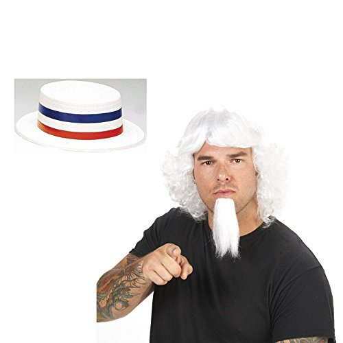 White Uncle Sam Wig and Goatee Adult Wig and Skimmer Hat Bundle (Uncle Sam Wig)