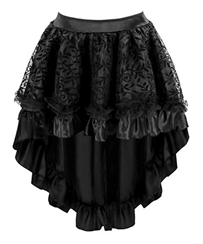 Charmian Women's Steampunk Retro Gothic Vintage Satin High Low Skirt with Zipper 3