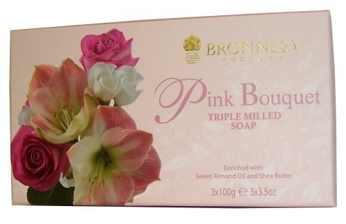 Bronnley Pink Bouquet 3x100g Triple Milled Handmade Soap by Bronnley