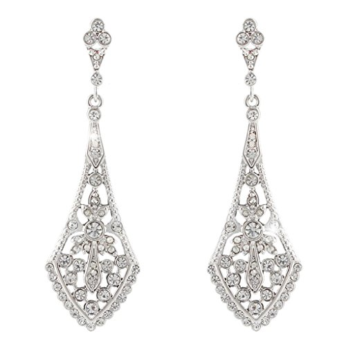 ever faith austrian crystal wedding chandelier art deco earrings silver tone - Color Contacts Amazon