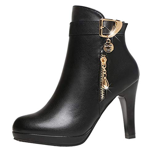 - vermers Women High Heel Shoes Short Tube Boot Leather Zipper Solid Color Round Toe Shoes Ankle Boots(US:7, Black)