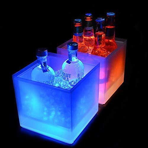 (Led Ice Bucket 3.5L, AOLVO Double Layer Glow Ice Bucket Insulated Wine Beer Champagne Cooler For Parties Bar Home, Square Transparent Ice Container, Ice Freezer Bucket Big, Color Gradient, Plastic)